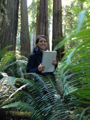 Betsy Franson records Fern Watch data at Prairie Creek Redwoods State Park