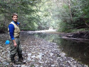 Researcher Ted Weller explains how they catch bats over Bull Creek at Humboldt Redwoods