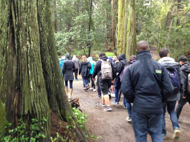 Students hiking to Redwood Bowl B-4April2014